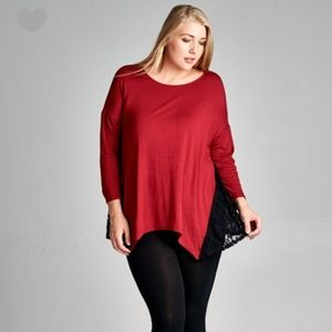 Red Tunic with Black Lace